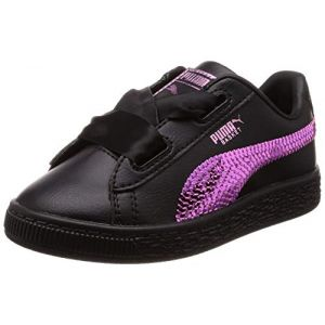 Puma Basket Heart Bling PS, Sneakers Basses Fille, Noir Black-Orchid 01, 30 EU