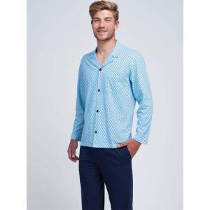 Eminence Pyjama long ouvert homme Faire des Vagues Bleu