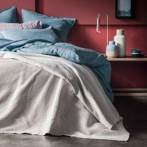 Blanc Cerise Couvre lit Coton Galet Simplement Plisse COUVRE-LIT 180X250
