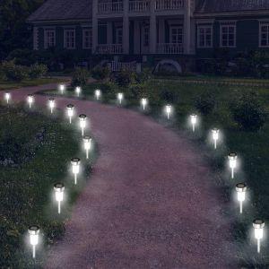 Idmarket Lot de 20 bornes solaires à LED lampes de jardin à planter