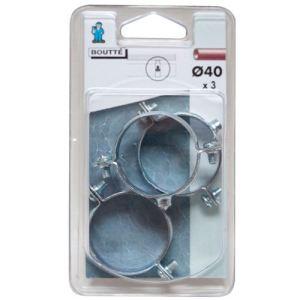 Boutté 1032784 - Collier fixation simple (lot de 3) Ø40 mm - Accessoire pose plomberie