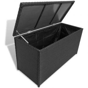 VidaXL Boîte de rangement de jardin Noir 120x50x60 cm Résine tressée