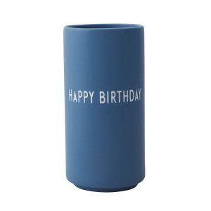 Design Letters Vase Happy Birthday (bleu)