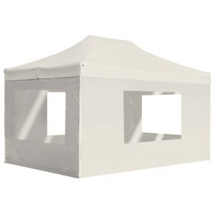VidaXL Tente de réception pliable avec parois Aluminium 4,5x3 m Crème