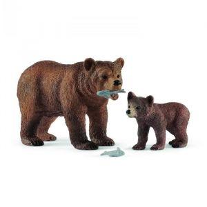Schleich Wild Life 42473 - Figurine Maman Grizzly avec Ourson