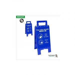 Novap Chevalet Bleu - Laver les mais et Porter un masque - 608 x 272 mm