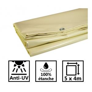 Toile de toit pour tonnelle et pergola 680g/m² ivoire 5x4m PVC