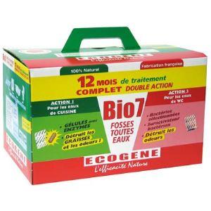 Ecogene 24 sachets de nettoyant sanitaire Bio7 spécial fosses toutes eaux