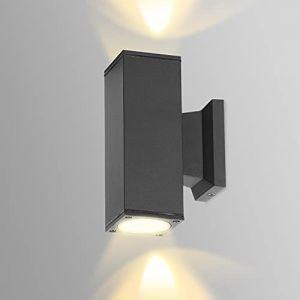 AGS Aigostar Applique Murale Exterieur GU10 Aluminium Up Down Eclairage Exterieur, IP65 Étanche Lampe Murale Exterieur pour Jardin Couloir Entrée Patio, Ampoule non Incluse, Noir