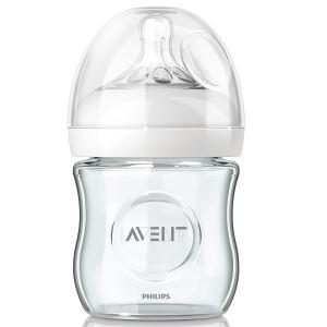 Philips Avent SCF671/17 - Biberon Natural en verre 120 ml avec tétine débit nouveau-né