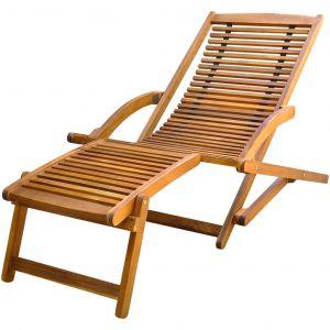 VidaXL Chaise de terrasse avec repose-pieds en bois d'acacia