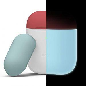 Elago Étui Duo Compatible avec Apple AirPods 1 & 2 (Témoin LED Visible) [Chargement Sans Fil Fonctionne] [Deux Capuchons] - (Corps - Bleu Phosphorescent / Top - Rouge Italienne, Bleu Coral)