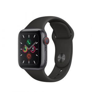 Apple Watch Watch Series 5 GPS + Cellular 40mm, Boitier Aluminium Gris Sidéral avec Bracelet Sport Noir - S/M & M/L