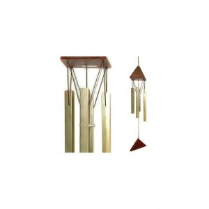 LG Carillon Son de crystal en bois et tubes acier, H 44 cm