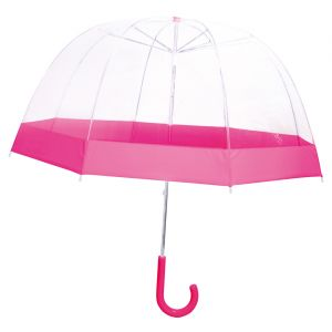 La Chaise Longue Parapluie enfant - Cloche - Transparent - Bordure rose - Le monde du parapluie