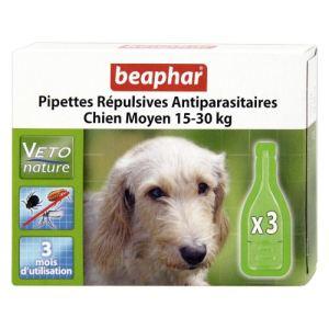Beaphar Pipettes répulsives antiparasitaires pour chien moyen 15-30 Kg