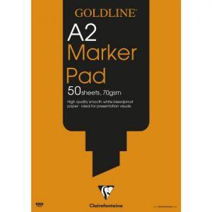 Clairefontaine GPB1A2Z - Bloc Goldline Markeur Pad A2, 50 feuilles 70 g/m², uni
