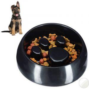 Relaxdays Gamelle Anti glouton, chien manger lentement bol croquette eau chat, aliment digestion lente, noir