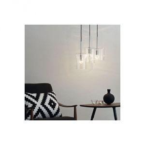 LampGustaf Rockford - Suspension 3 lumières en métal chromé et diffuseur en verre Ø40 cm