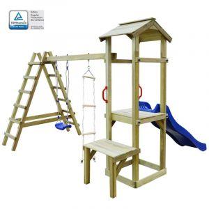 VidaXL Maison de jeu toboggan échelles balançoire 286x228x218 cm FSC