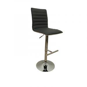 2 chaises de bar réglables cerclage PVC Inox - Gris