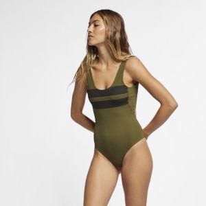 Nike Maillot de bain une pièce Hurley Quick Dry Block Party pour Femme - Olive - Taille S