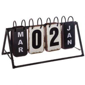 """Calendrier Vintage en Métal """"Perpétuel"""" 27cm Noir """""""