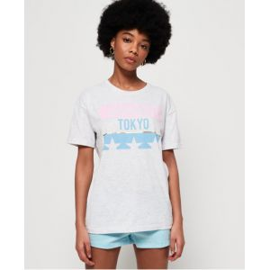 Superdry T-shirt oversize Tokyo Stars Portland - Couleur Gris Clair - Taille 38