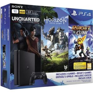 Sony PS4 Slim 1To + Horizon Zero Dawn + Uncharted : The Lost Legacy + Ratchet & Clank + Qui es-tu ?