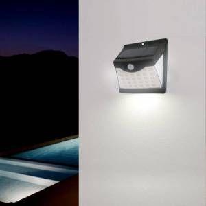Silamp Applique murale Solaire LED Noire 0.55W avec Détecteur de Mouvement - Blanc Neutre 4000K - 5500K