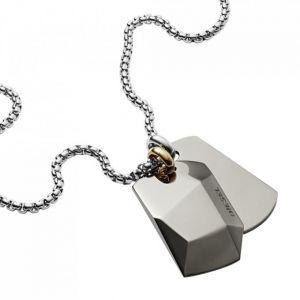 Diesel Collier et pendentif Bijoux DX1143040 - Collier et pendentif Acier Chromé 2 Plaques Homme