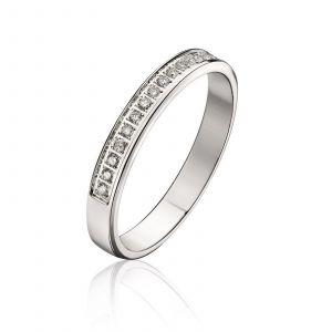 Histoire d'Or Alliance Or Blanc et Diamant 3 mm - blanc