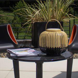 Forestier Lampe à poser extérieur TAKE A WAY XS-Baladeuse d'extérieur LED sans fil Bambou H29cm Noir