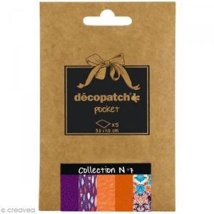 decopatch DP007O - Déco Pocket n°7 : 5 feuilles 30x40 cm, motifs 652, 694, 466, 664, 695
