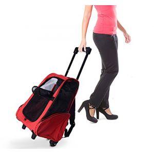 Homcom Trolley, chariot, sac à dos, sac de transport à roulettes pour chien 22eb2c3cabc1