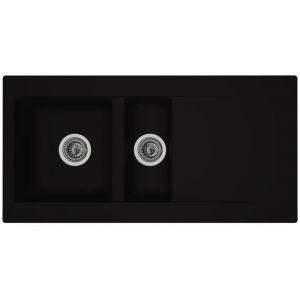 STRADOUR Evier cuisine à encastrer 1,5 bac + 1 uttoir Einna Résine 100 x 50 cm Noir