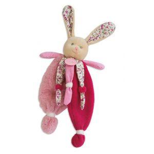 Babynat Doudou Les Poupis : Lapin plat rose liberty fleur