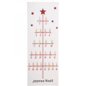 Féérie Lights&Christmas Calendrier de l'Avent avec pinces - 30 x 80 cm - Rouge et blanc