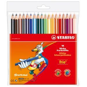 Stabilo 18 Crayons de couleur Trio assortis