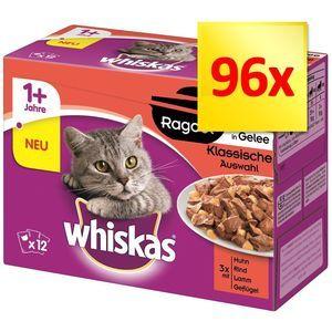 Whiskas Jumbopack 1+ Marmiton 96 x 85 g pour chat - sélection classique en gelée