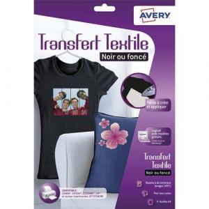 Avery-Zweckform 4 Transfert T-Shirt pour Textiles Noirs