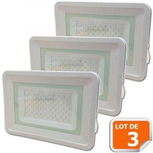 Lampesecoenergie Lot de 3 LED Projecteur Lampe 100W Blanc 6000K IP65 Extra Plat