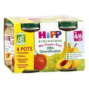 HiPP Biologique Mes premiers Fruits : Offre diversification 4 x 125g - dès 4 mois