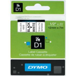Dymo S0720530 - Cassette ruban étiquette D1 noir sur blanc 12 mm / 7 m