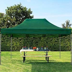 Intent24 Tente pliante tente pliable 3x4,5m - sans panneau de côté PROFESSIONAL toit 100% imperméable tente de jardin pavillon vert fonce.FR