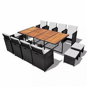 VidaXL Jeu de salle à manger d'extérieur 33 pcs Rotin synthétique Noir
