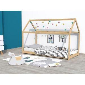 PANDA Lit enfant cabane Style junior Bois pin m if naturel Sommier en bois épicéa inclus l 90 x L 190 cm