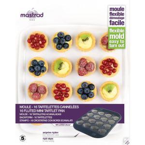 Mastrad Moule à 16 tartelettes et cannelées Prenium