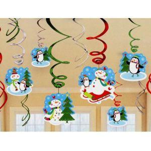 """Amscan 12 décorations de Noël à suspendre """"Bonhomme de Neige"""""""