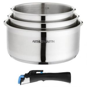 Arthur Martin 3 casseroles avec 1 poignée amovible (16/18/20 cm)